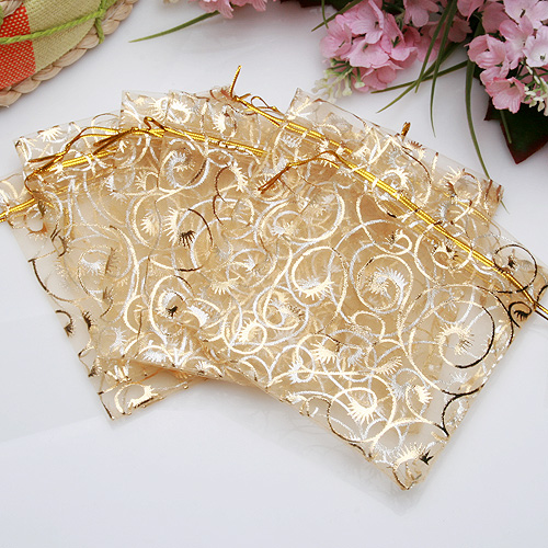 100 10X12cm Champagne Organza Pouch Jewellery Gift Bag