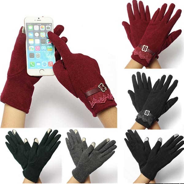 Women Girl Cotton Click Touch Screen Lady Warm Lace Gloves Mittens