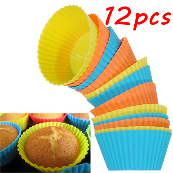 12Pcs Silicone Cake Muffin Chocolate Cupcake Cups Mold