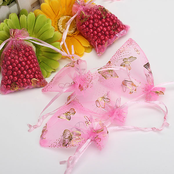 100pcs Butterfly Drawstring Organza Gift Candy Jewelry Pouch Bag