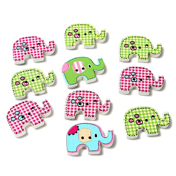 10Pcs Mixed Elephant Painting Wooden Craft Buttons