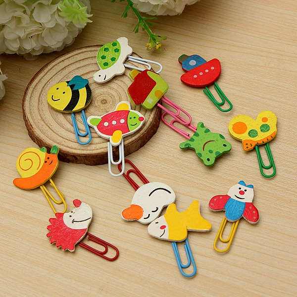 12Pcs Cute Cartoon Animal Paper Clip School Supplies Stationery