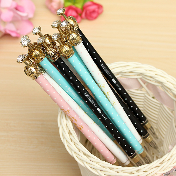 12Pcs Elegant Crown 0.38mm Black Cute Gel Pens Color Ramdon