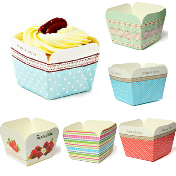 100Pcs Square Muffin Cupcake Baking Cake Mould Paper Bake Cups