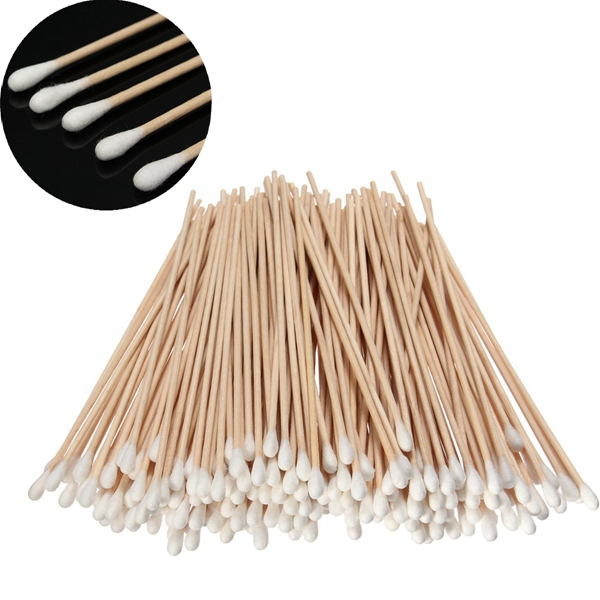 200Pcs Long Wood Handle Cotton Swab Applicator Medical Swabs