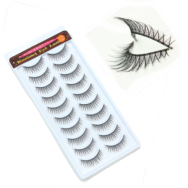 10 Pairs Long Makeup False Eyelashes Handmade Natural