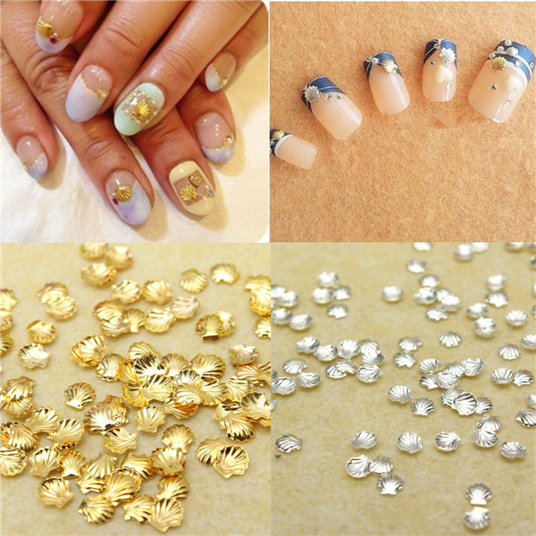 100 Pcs DIY Nail Art Manicure Alloy Shell Decoration Studs Beads