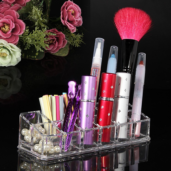 12 Quadrate Acrylic Clear Cosmetic Container Makeup Storage Organizer