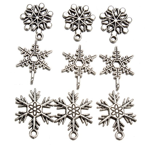 50Pcs Mixed Silver Plated Christmas Snowflake Pendant Charms