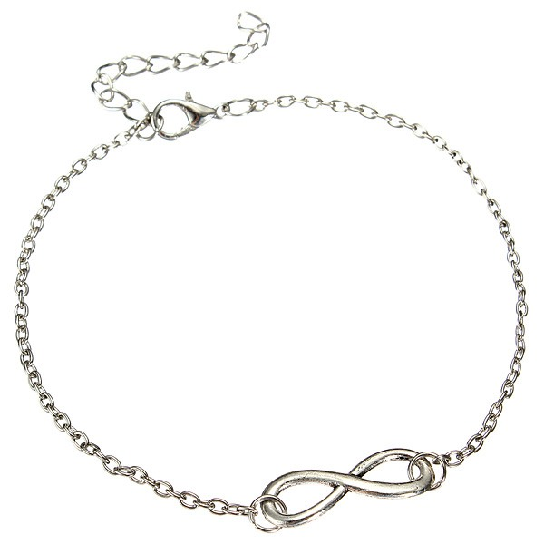 Silver Plated 8 Infinity Metal Chain Anklet Women Jewelry