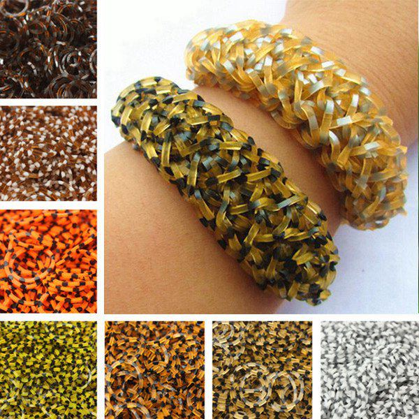 600pcs Leopard Rubber Bands DIY Bracelet Craft With Clip Hook