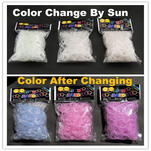 600Pcs White UV Change Color Loom Rubber Bands DIY Bracelet