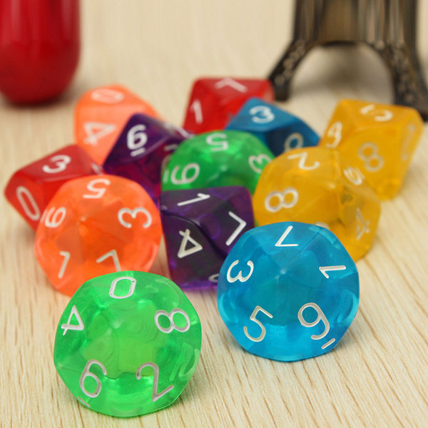 10-Pcs D10 Ten Sided Gem Dice Die for RPG Dungeons & Dragons Games Set