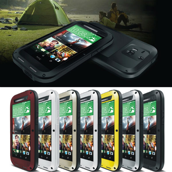 Aluminum Metal Gorilla Glass Shock Water Proof Case For HTC One M8