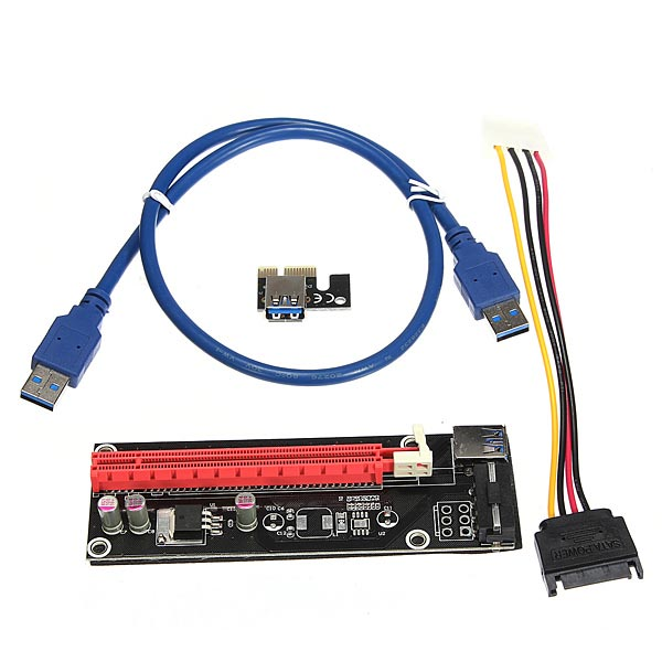1M Powered PCI-E 1x to 16x USB3.0 Extender Riser Adapter Card