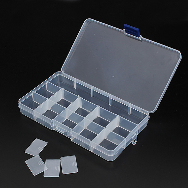 15 Compartments Storage Plastic Adjustable Electronics Tool Box