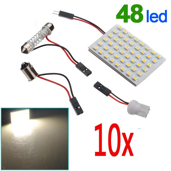10 x Panel 48 SMD LED Bulb Lamp T10 Dome Bulb BA9S 12V DC Adapter
