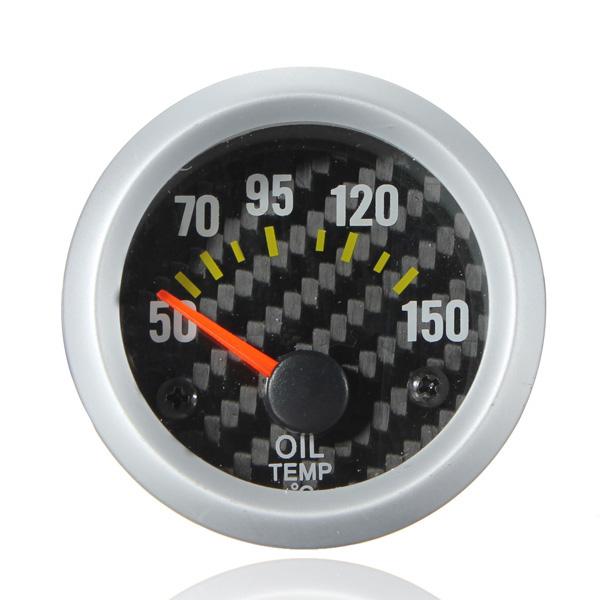 Electrical Oil Temp Temperature Gauge Celsius White Carbon Fiber Face