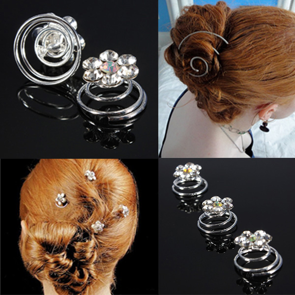 Clear Flower Crystal Diamante Wedding Hair Twists Spiral Coils Pins