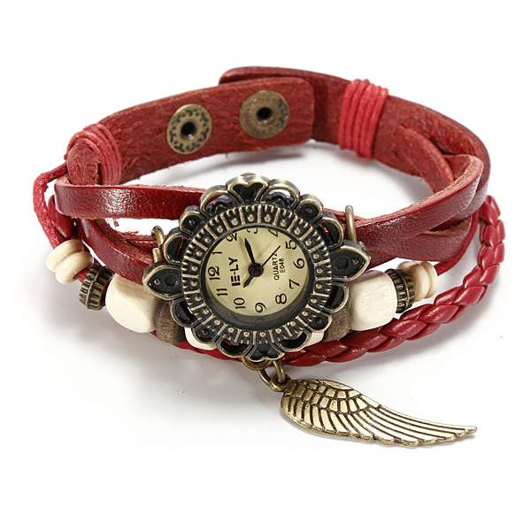 Flower Dial Weave Leather Wings Beaded Quartz Bracelet Wrist Watch