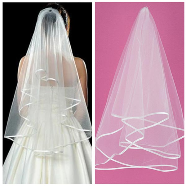 Charm White Ivory 2 Tier Mantilla Wedding Bridal Bride Veil