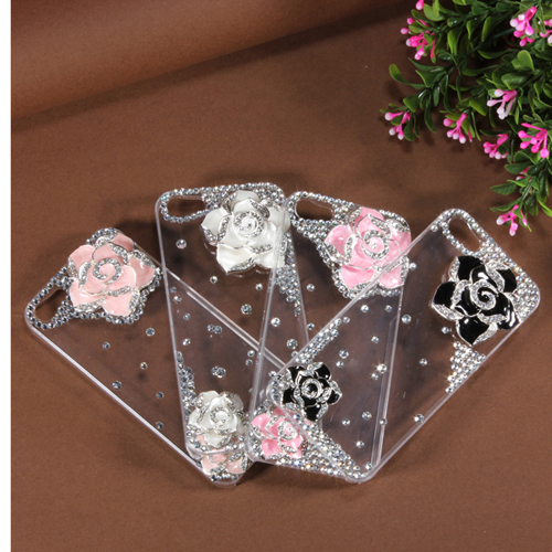 3D Bling Crystal Flower Transparent Case Cover Skin For iPhone 5