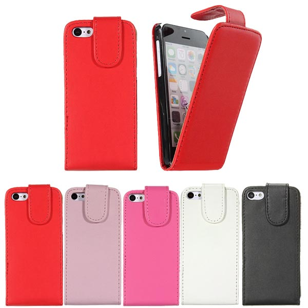 Vertical Pouch Flip PU Leather Case Cover For iphone 5C