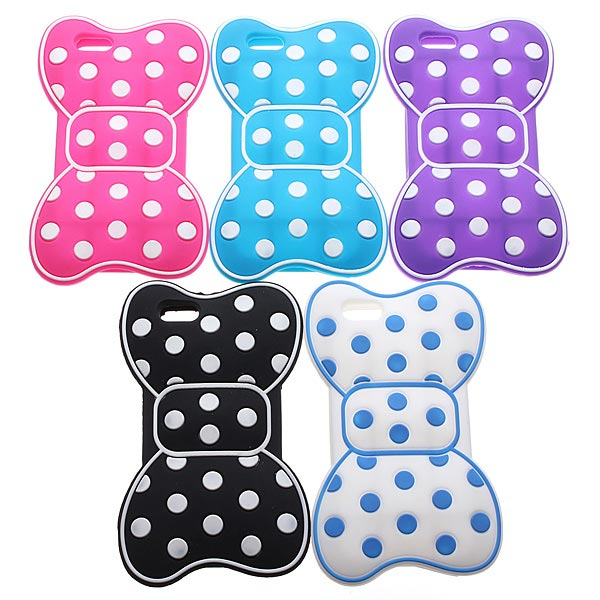3D Cute Polka Dot Bow Tie Soft Rubber Silicone Case For iPhone 5 5S