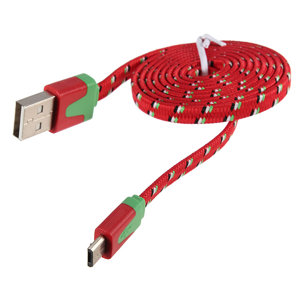 1M Braided Fabric Colorful USB Data Sync Charger Cable For Samsung