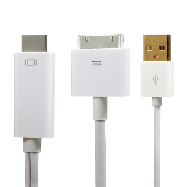 1.8M HDMI Cable Adapter Converter USB Charger For iPhone 4 4S iPad