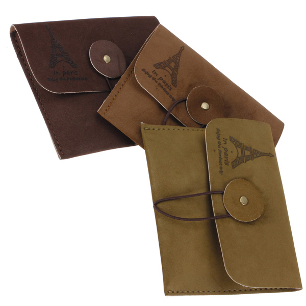 Retro Suede Leather Eiffel Tower Wallet Purse