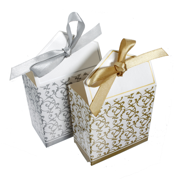 100pcs Gold Silver Ribbon Wedding Party Gift Favor Candy Paper Boxes