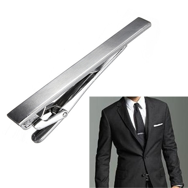 Men's Metal Silver Tone Simple Necktie Tie Clip
