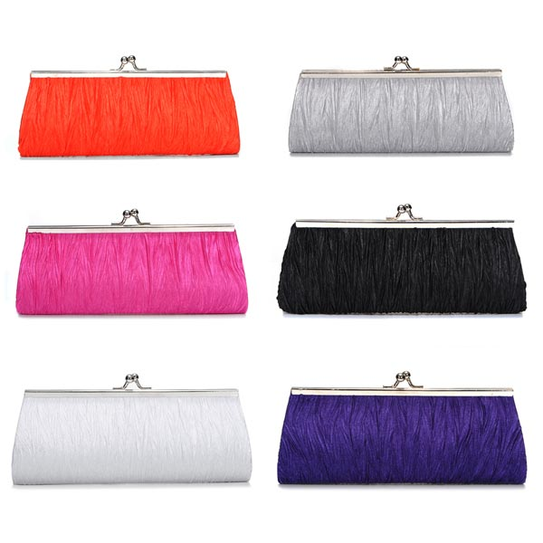 Satin Pleated Bridal Evening Clutch