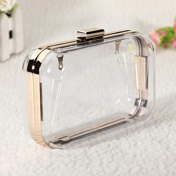 Women Transparent Clutch Evening Chain Bag