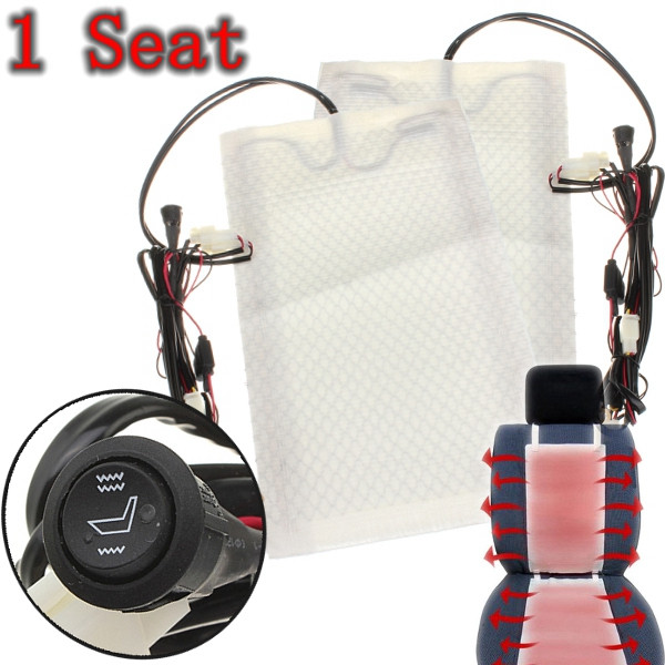 1 Seat Carbon Fiber Universal Heated Seat Heater Pads Car Round Switch