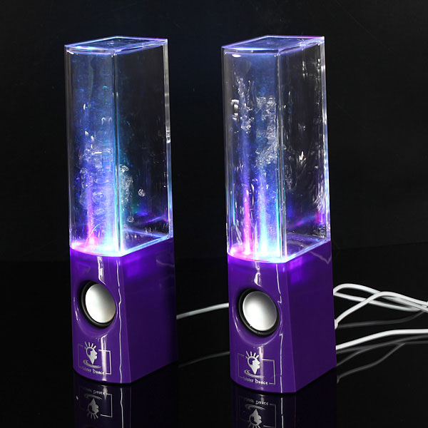 A Pair of LED Water Dancing Speakers with 3.5mm Plug