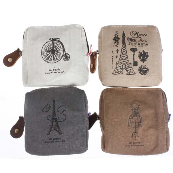Women Classic Canvas Coin Bag Case Zipper Purse Card Holder