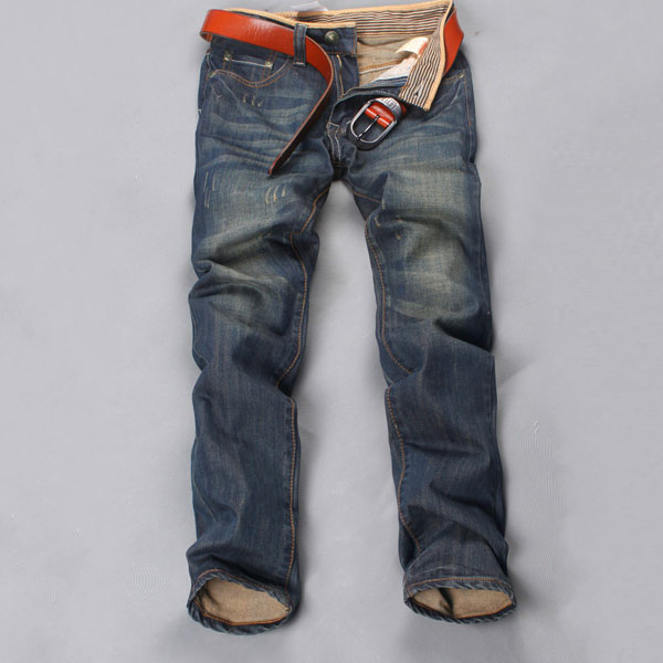 Mens Blue Faded Jeans Slim Straight Jeans Waterstreak Jeans Pants