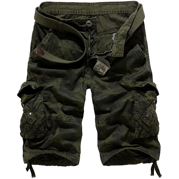 Men's Loose Fit Camo Multi Pockets Cargo Short Pants