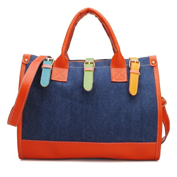 Fashion Vintage Women Color Block Handbag Canvas Shoulder Bag