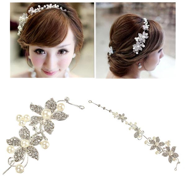 Bride Wedding Five Disc Flowers Rhinestone Crystal Pearl Alloy Tiara