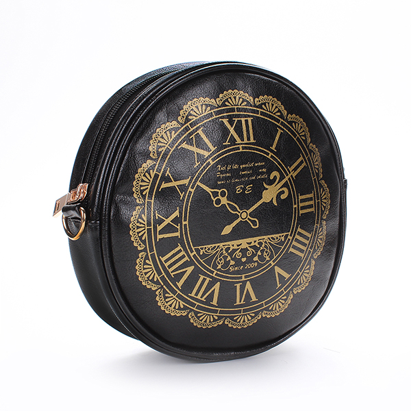 Retro Cute Round Clock Purse Cross Body Handbag Satchel Shoulder Bag