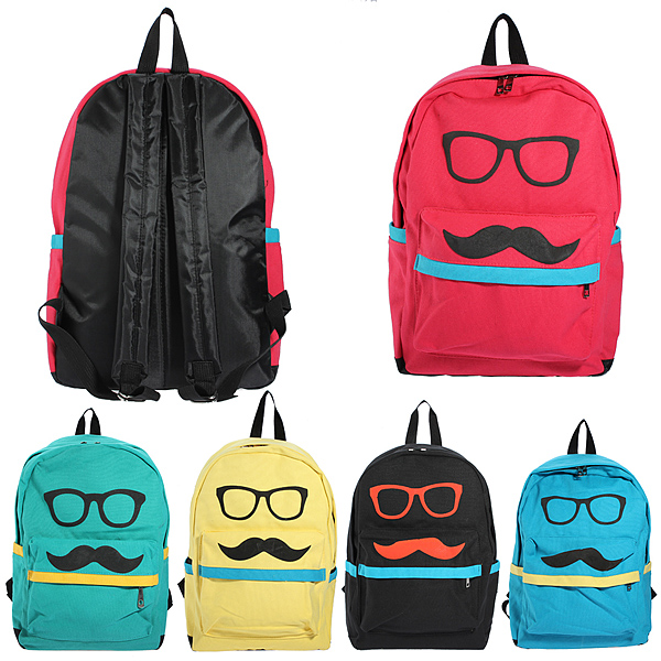 Mustache Eyeball Canvas Backpack