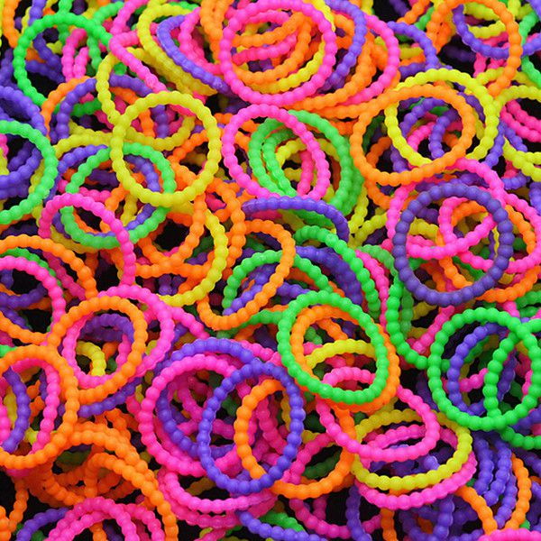 300Pcs Colorful Pearl Beaded Loom Rubber Bands With Clips DIY Bracelet