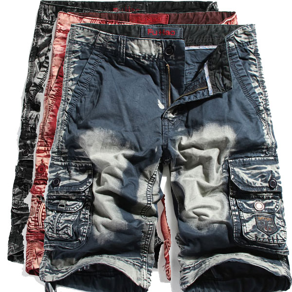 Mens Washed Cotton Cool Shorts Multi Pockets Cargo Short Pants