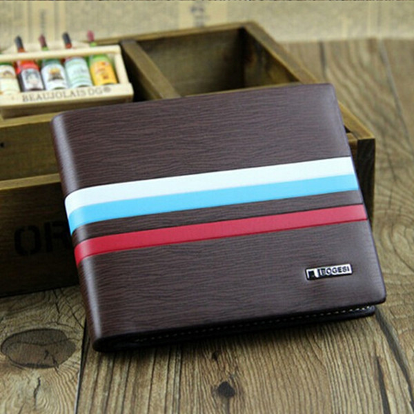 Men Leather Credit Card Holder Bifold Short Purse Wallet