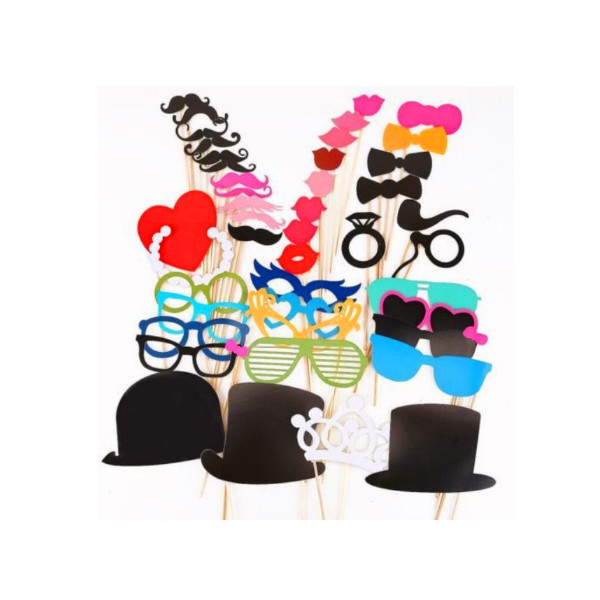44pcs Photo Booth Wedding Prop Welcome Mustache Mask Props