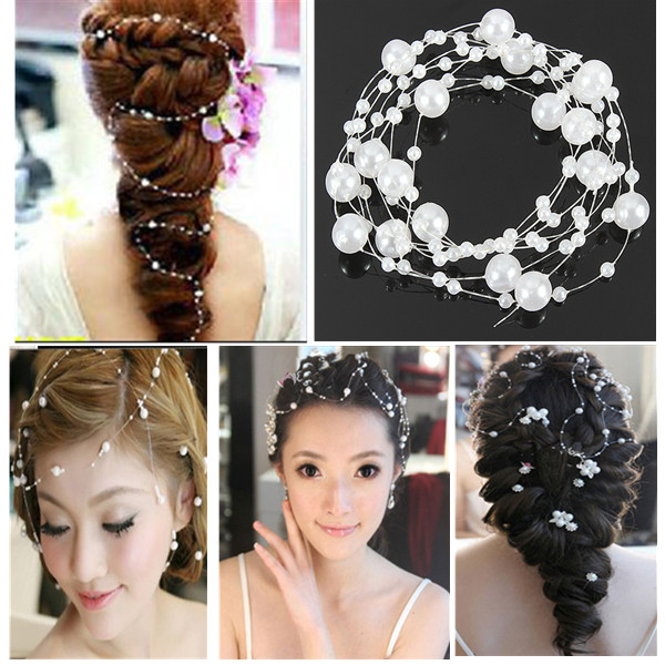 Bride Wedding Party Hair Pearl Beaded Bridal Headpiece Tiara