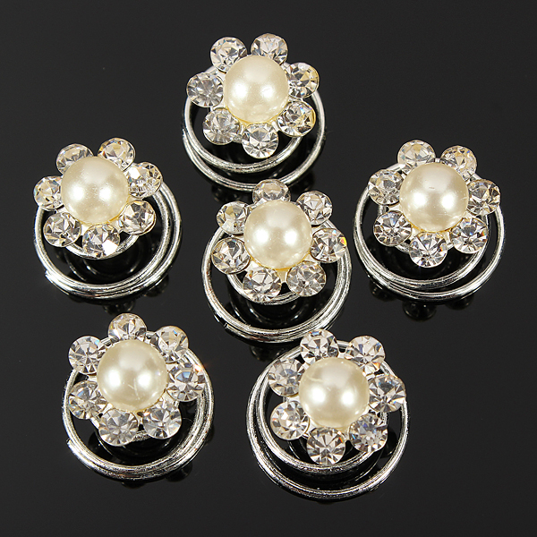 6PCS Crystal Pearl Flower Bridal Hair Twists Swirls Pins Spirals